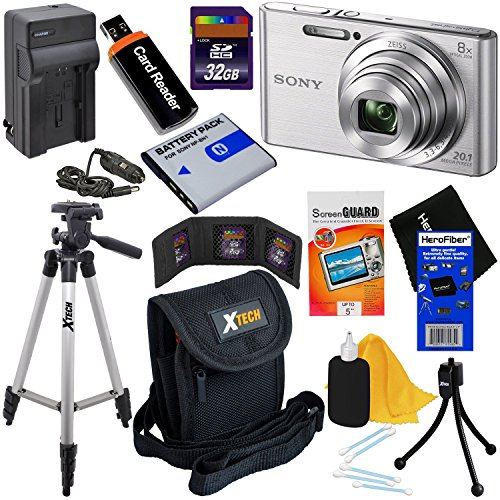 Sony Cyber-shot DSC-W830 20.1 MP Digital Camera with 8x Zoom & Full HD Video (Silver) – International Version (No Warranty) + Battery & Charger + 9pc 32GB Dlx Accessory Kit w/HeroFiber® Cleaning Cloth