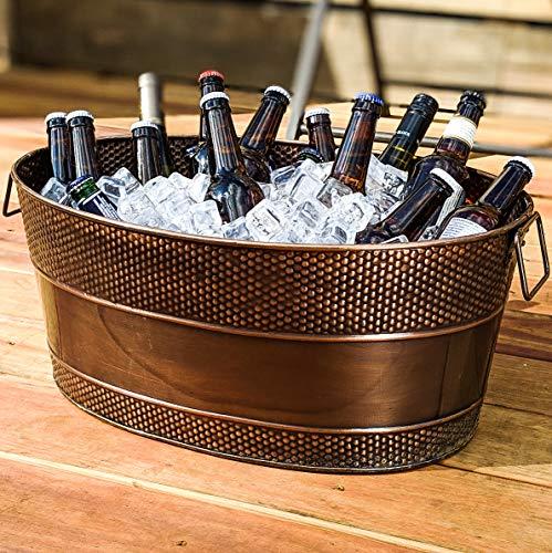 BREKX Aspen Copper Finish Hammered Galvanized Beverage Tub w/Iron Stand - 25 Quart by BREKX (Image #3)