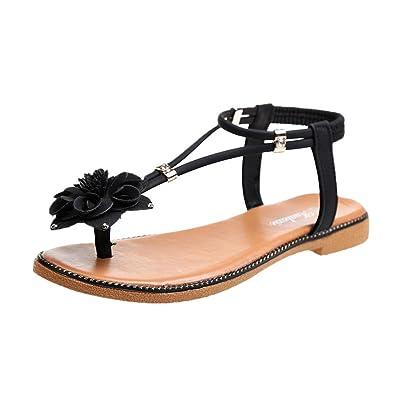 Sandales Femmes Plates,Chaussures Femme,Escarpins Femme,Mode Femmes Fleur Talon Plat Anti Dérapage Plage Chaussures Sandales Fond Mou Pantoufle,Noir Marron