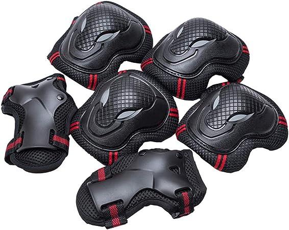 BLEVET 6PCS Protectores para Skate Patinaje Proteccion Protector de Muneca Guardias para Rodilleras y Coderas MZ071