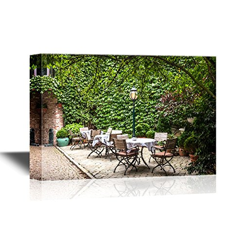 wall26 - Canvas Wall Art - Small Cafe in Bruges, Belgium - Gallery Wrap Modern Home Decor   Ready to Hang - 16x24 inches
