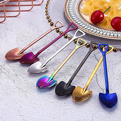 Longay Colorful Spoon Handle Spoons Flatware Ice Cream Drinking Tools Kitchen Gadget (Gold)