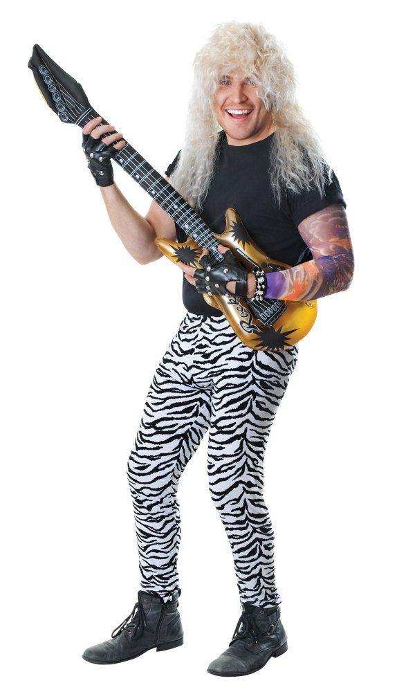Zebra Print Pants. These elasticated trousers are ideal for creating an 80s rocker look. Add a vest, mesh top, wig.