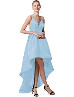 c324229257 QueenBridal High Low Prom Dress Long Satin Party Dress A-line Spaghetti  Straps Formal Evening