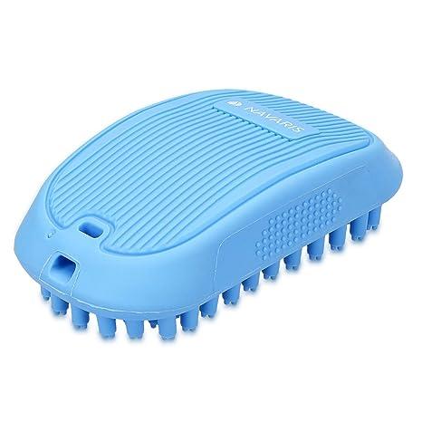 Navaris Cepillo rascador para Perros y Gatos - Peine masajeador para Pelo Largo y Pelo Corto - Cepillo para Mascotas desenredante Azul