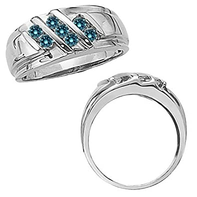 0 50 Carat Blue Round Diamond Mens Man Fancy Channel Band Engagement