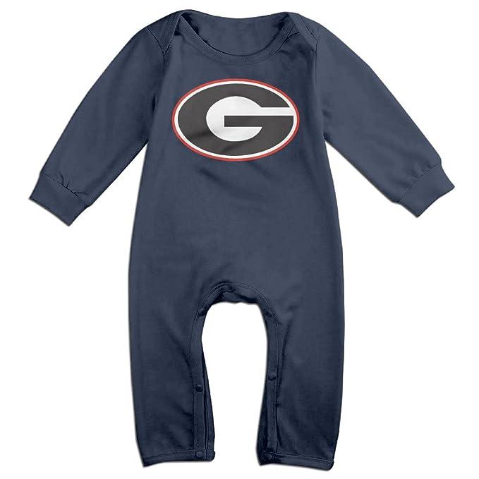 4fb69017a Unisex-baby Georgia Bulldogs Football UGA Logo Long Sleeve Jumpsuits  Outfits Baby Onesie