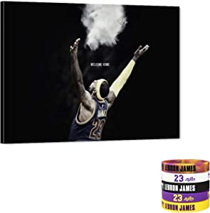 """Welcome Home - Lebron James Canvas Wall Art Cleveland Cavaliers 23th Picture NBA Super Star Art Work for Home Wall Decor, Lebron James Posters for Men Boys Room Decor for Bedroom, Office (30"""" W40 H)"""