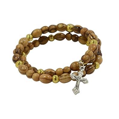 cd75af814b36a Chapelet authentique en bois d olivier et perles avec breloque crucifix Fil   eacute lastique