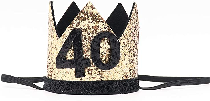 Amazon.com: Corona de 40 cumpleaños con purpurina dorada ...