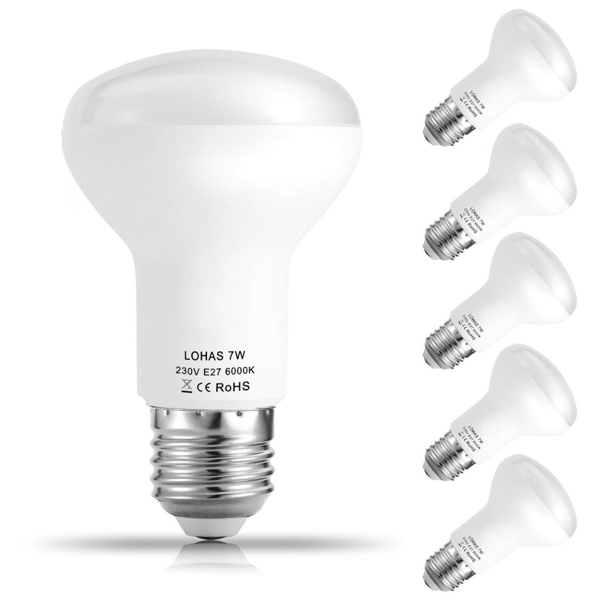 LOHAS® R63 7W E27 Reflectoras LED Bombillas, Equivalencia incandescente 60W, Bombillas LED, 560lm, 6000k Blanco frío, Luz amplia 120°, 220-240 V AC, ...