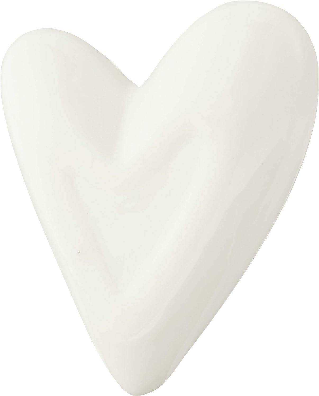 "Creative Co-op White Ceramic Heart Ring Dish, 2.75"" L x 2.25"" W"