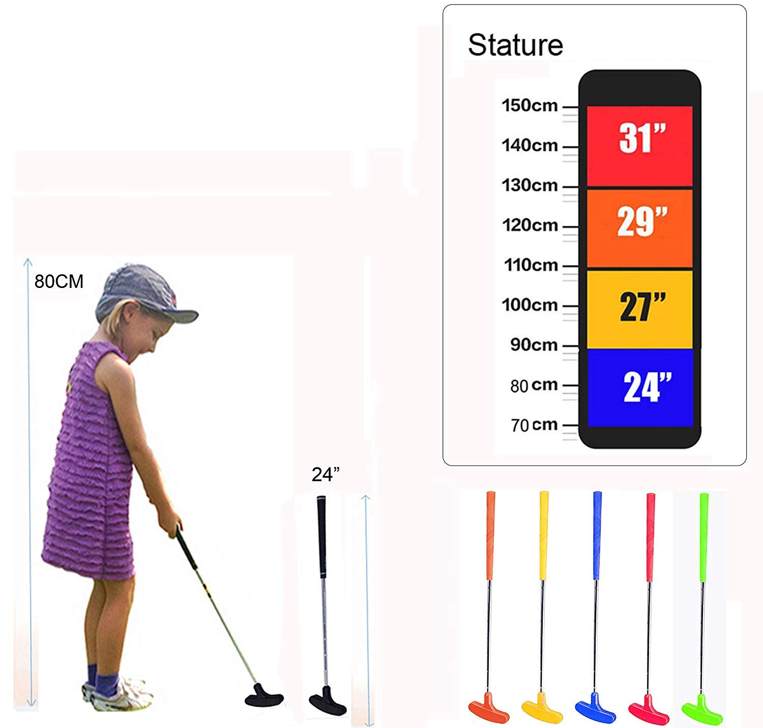 CRESTGOLF Kid Rubber Golf Putter ----24 inches,Double Way, Suitable for both Right Handed&Left Handed (3--5) by Crestgolf (Image #5)
