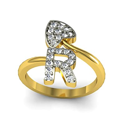 Buy Jewelscart Alphabet R Love Heart Shape Valentine CZ Gold