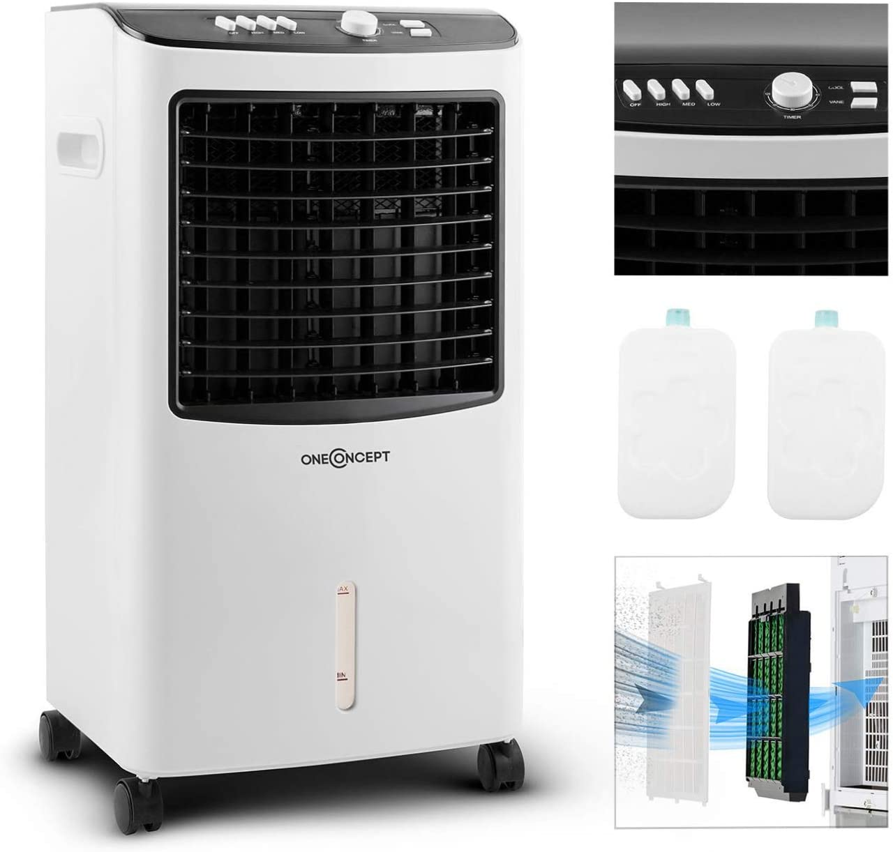 oneConcept MCH-2 V2 - Ventilador 3-en-1 portátil, Enfriador de aire, Humidificador, Tanque 7 L, 360 m³/h, 65 W, 2 baterías de refrigeración, Oscilación horizontal, Temporizador, Blanco seda