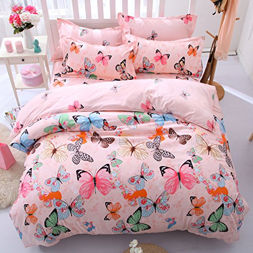 Brown Animal Pattern (4-pieces Duvet Cover Set, Pink Green Brown Blue Black Butterflies Prints Animal Floral Patterns Design, Without Comforter (1 Duvet Cover Set + 1 Bed Sheet + 2 Pillowcases))