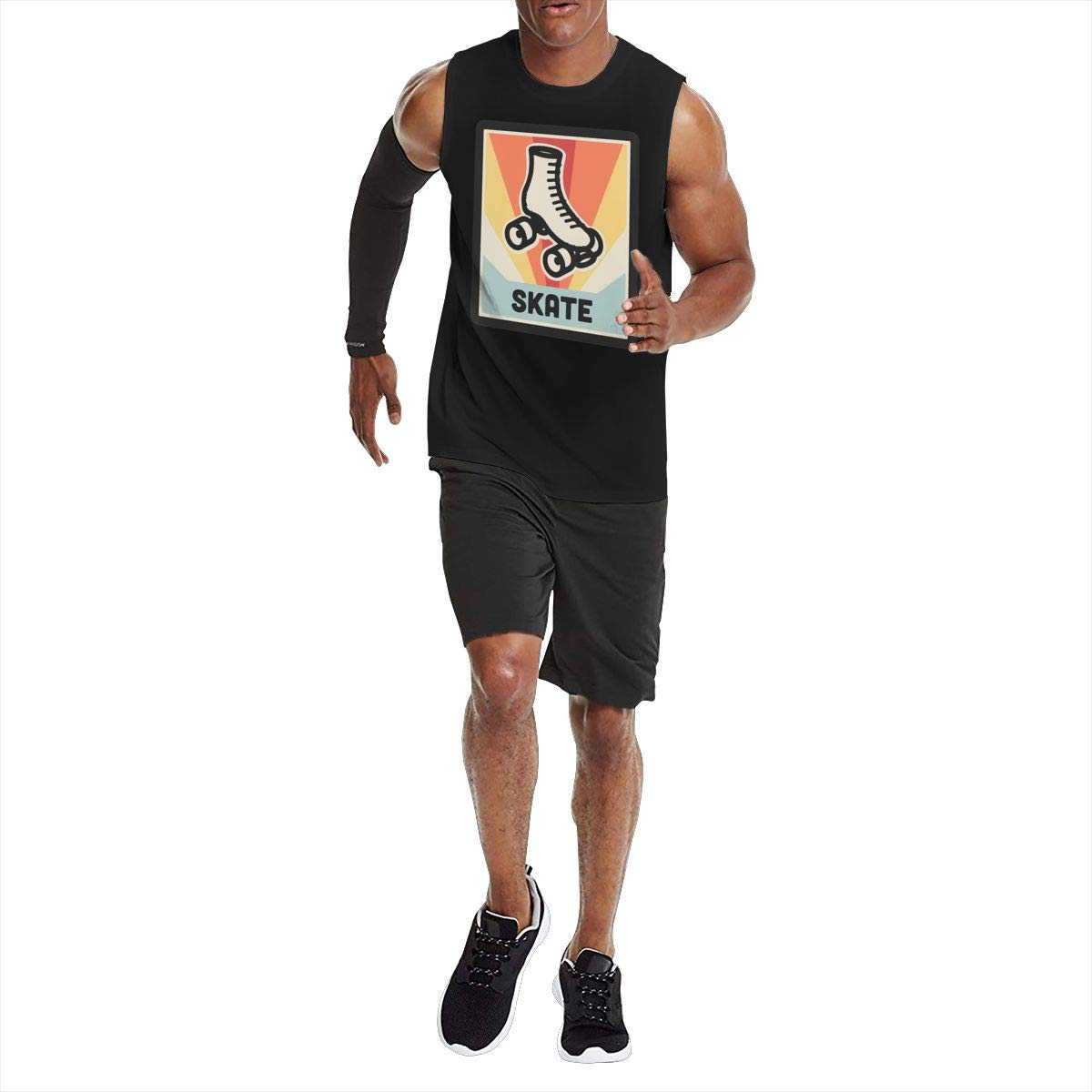 Vintage 70s Style Roller Skating Mens Gym Workout Tank Top Underwaist