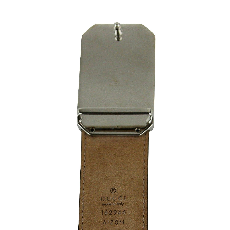 6686ed6b8dda52 Amazon.com: Gucci Men's Rectangular Black Diamante Leather Belt With Silver  Buckle 162946 1000: Clothing