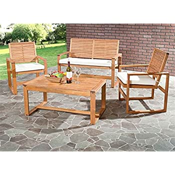 Safavieh Home Collection Hailey Outdoor Living Acacia Patio Set, Brown,  4 Piece