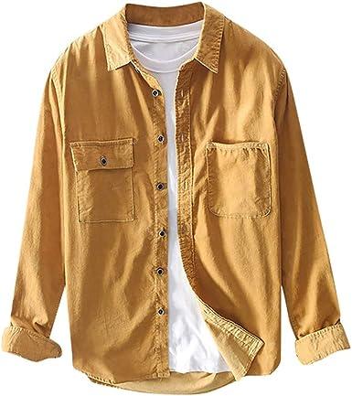 waotier Chaquetas para Hombre Camisas Casual Vintage Pana Color ...