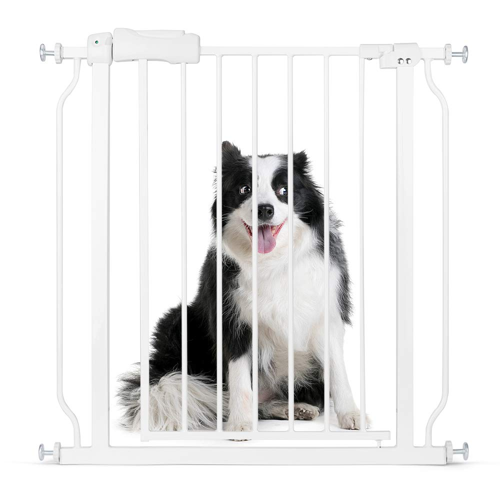 Cyttengo Multi-Use Metal Baby Gate Pet Gate 22'' Wide Opening Easy Walk-Through Single-Hand Access Easy Set Up No Tools Required Fit Opening 29'' to 34'' Wide for Baby/Dogs/Cats Bear 80 Pounds