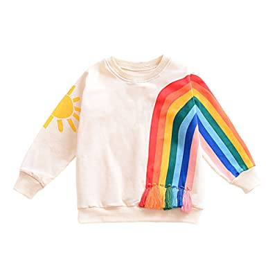 Toddler Little Girls Boys Long Sleeve Rainbow Blouse Cotton Top Clothes