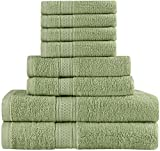 Utopia Premium Cotton Soft Absorbent 8-Piece Bath Towel Set, Sage Green Deal