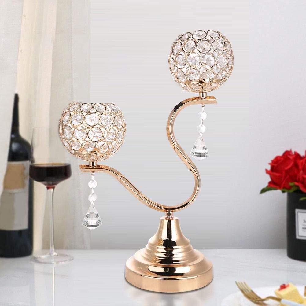 Wifehelper Candelieri Candelabri di Cristallo Centrotavola Decorativo da Tavolino Candelabro per Matrimonio Silver