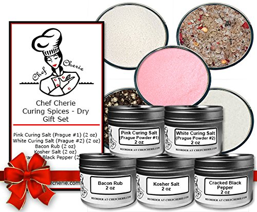 Chef Cherie's Curing Spice (Dry) Gift Set, contains 5 x 2oz tins .. (Curing Kit)