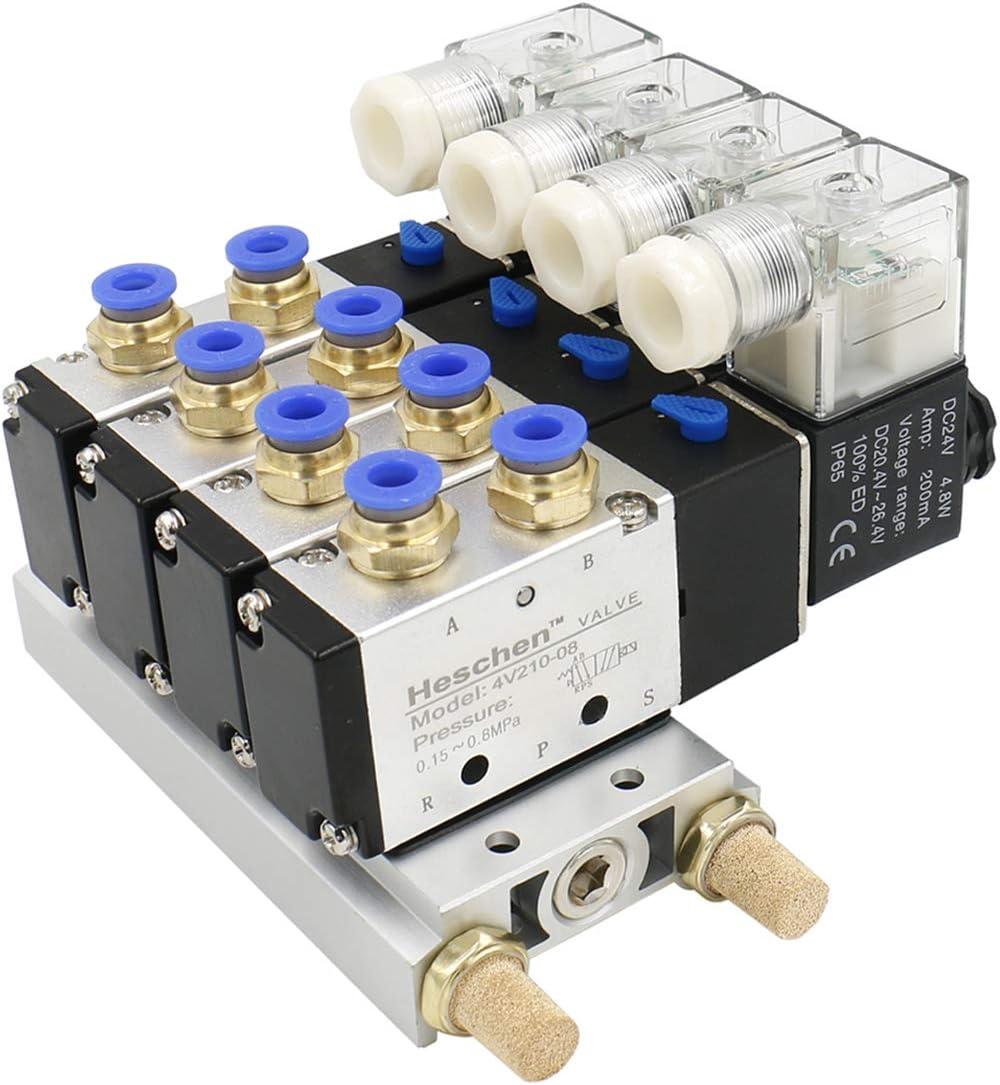 heschen eléctrico neumática 4Válvula de solenoide 4V210–08DC 24V PT1/45way 2posición colector base Silenciador Rápida Accesorios Set