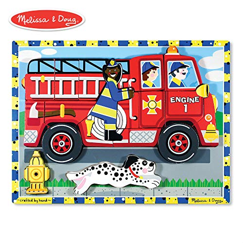 Melissa & Doug Fire Truck Wooden Chunky Puzzle (18 pcs) (Stars Chunky Wooden)
