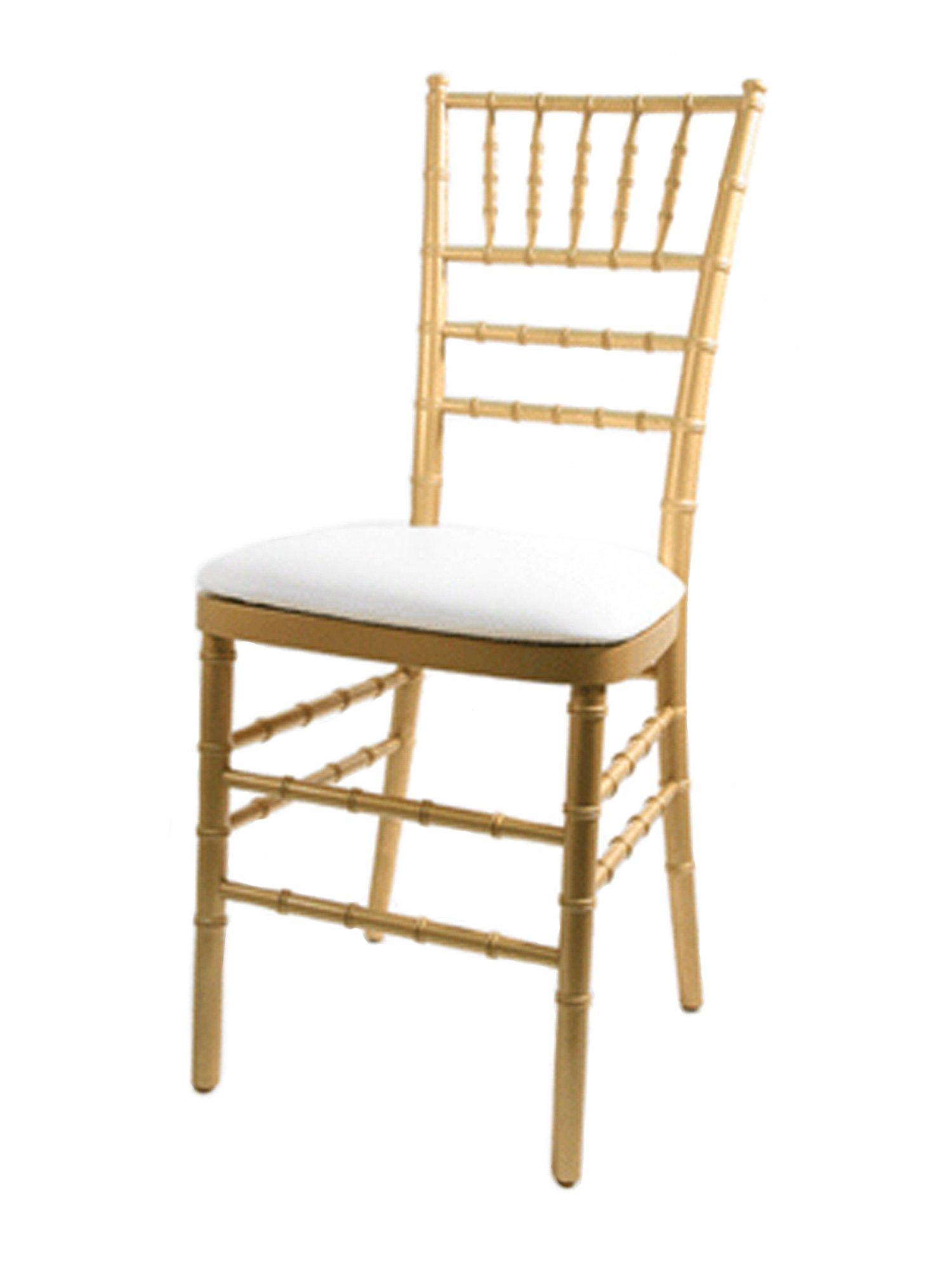 CSP Events Cup-RB-Vinyl-WH Chiavari Chair Wood Panel/Vinyl Cushion, 3'' Height, 15'' Width, 15'' Length, White