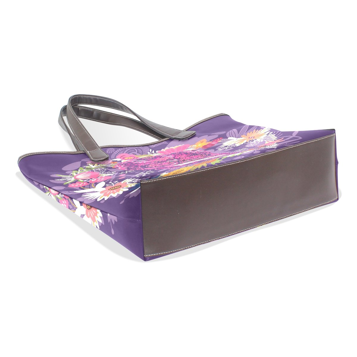 Ye Store Purple Skull Lady PU Leather Handbag Tote Bag Shoulder Bag Shopping Bag