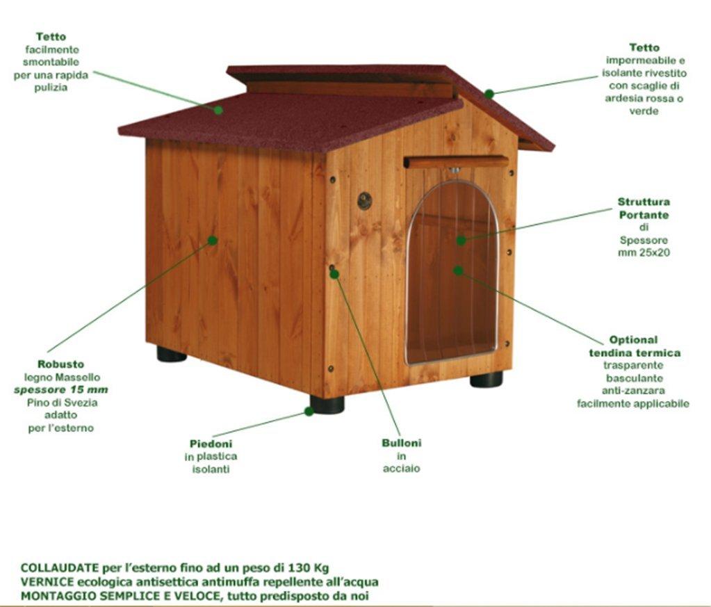 Accesorios para mascotas Caseta para gran danés y similares - Modelo Cumbre con tejado rojo: Amazon.es: Jardín