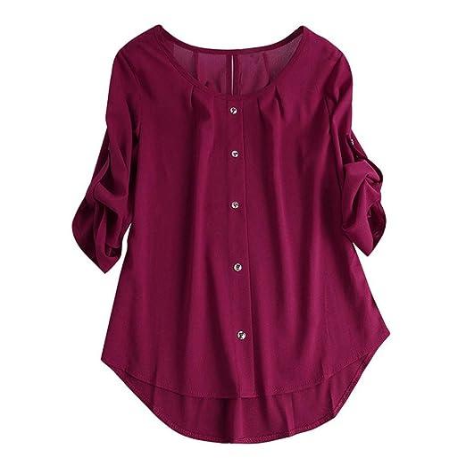 ❤ Blusa Suelta Mujer,Blusa Superior Irregular de la Camiseta de Las Mujeres de Manga Larga O Cuello Irregular: Amazon.es: Ropa y accesorios