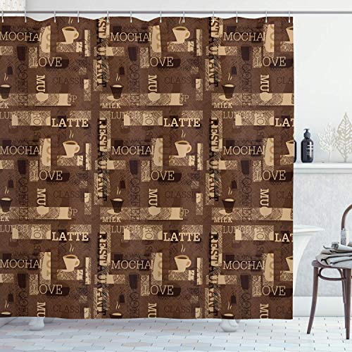 lovedomi Coffee Shower Curtain with hot Mocha Latte Milk Love Canteen Pattern Love Graffiti Background on The Layout 71x71inch Polyester Waterproof Fabric Including Twelve Plastic Hooks (Lays Mocha)