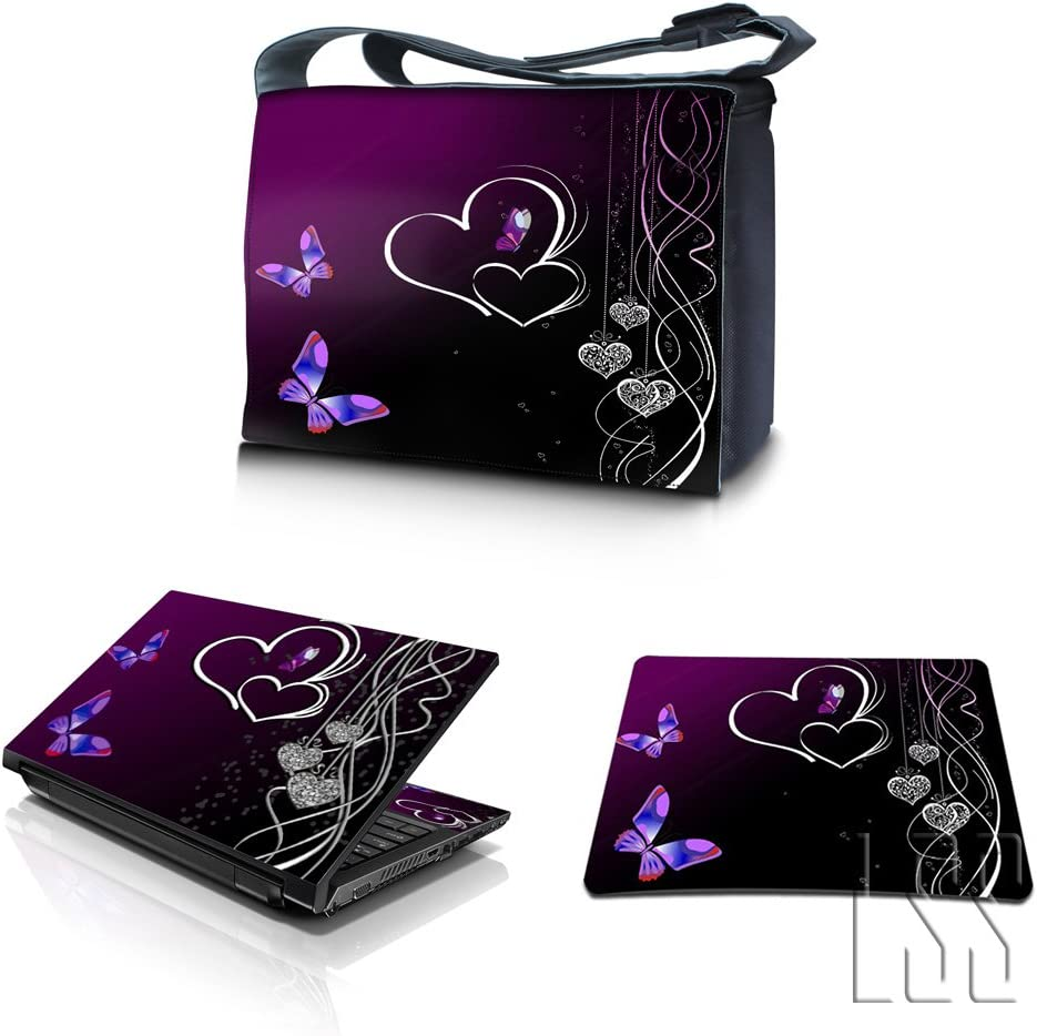 """LSS 17-17.3"""" Laptop & MacBook PRO Messenger Crossbody Bag with Matching Laptop Skin Sticker & Mouse Pad Combo 