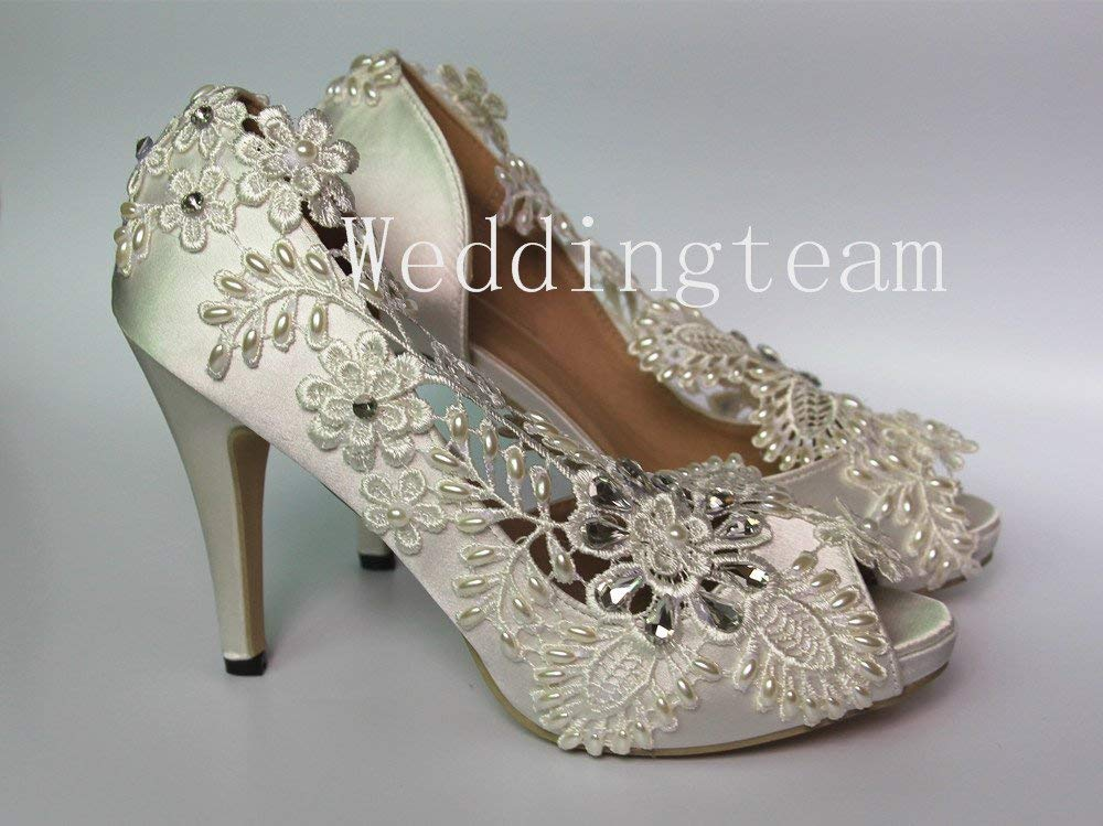 8cm heel satin white ivory lace crystal pearls open toe Wedding shoes bride size 5-9.5