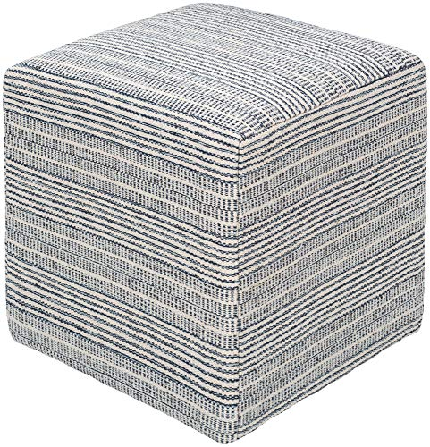 Pleasing Amazon Com 18 Blue And White Striped Square Pouf Ottoman Evergreenethics Interior Chair Design Evergreenethicsorg