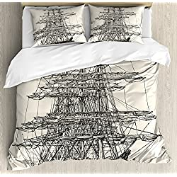 Ambesonne Pirate Ship Duvet Cover Set Queen Size, Sailing Boat Detailed Illustration Nautical Maritime Theme Vintage Style Art, Decorative 3 Piece Bedding Set with 2 Pillow Shams, Cream Black