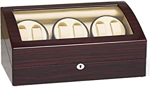 JQUEEN Automatic Watch Winder, 6 Watch Winder with 7 Storage Case with Quiet Mabuchi Motor-Four Program Settings
