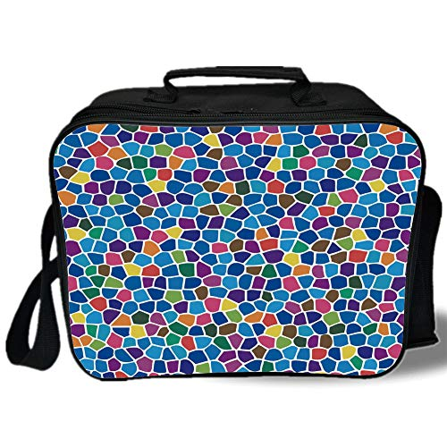Modern Decor 3D Print Insulated Lunch Bag,Vivid Rainbow Colored Mosaic Design Shapes in Blue Yellow Green Orange Red Art,for Work/School/Picnic,Multicolor