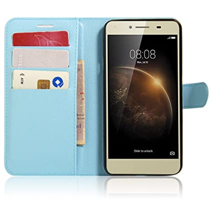 save off 1f1e5 2e38b Huawei Y6 Elite Case, DISLAND(TM) Flip PU Leather Card Slot Case Magnetic  Closure Stand Cover Fashion Wallet Case for Huawei Y6 Elite,Blue