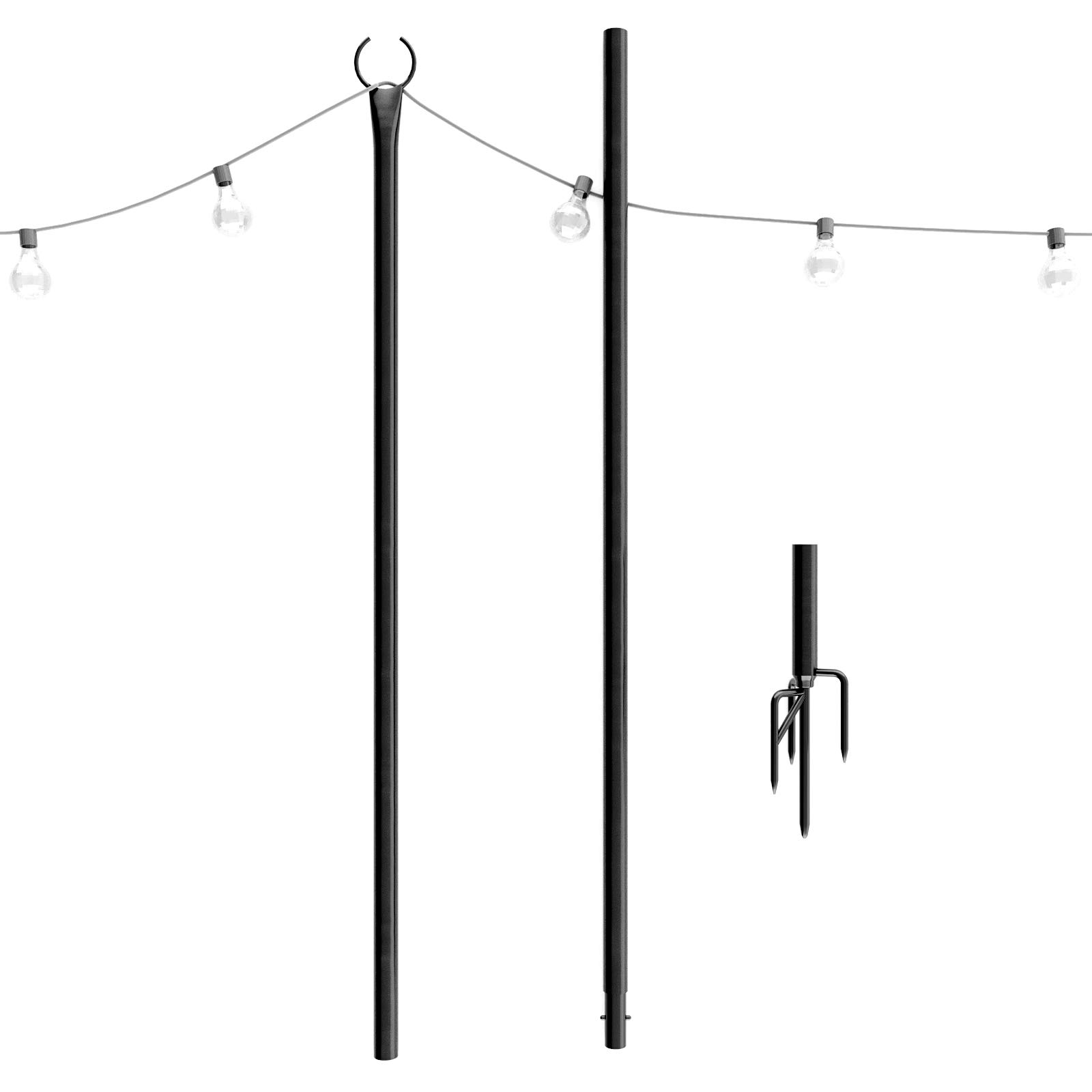 Outdoor String Lights Pole (1 x 8f) - New 4-Prong Sturdy Fork to Dig Deep - Light Up Patio or Garden with LED Or Solar Hanging Bulbs - Water-Resistant Steel Powder Coated Poles for House Café Wedding