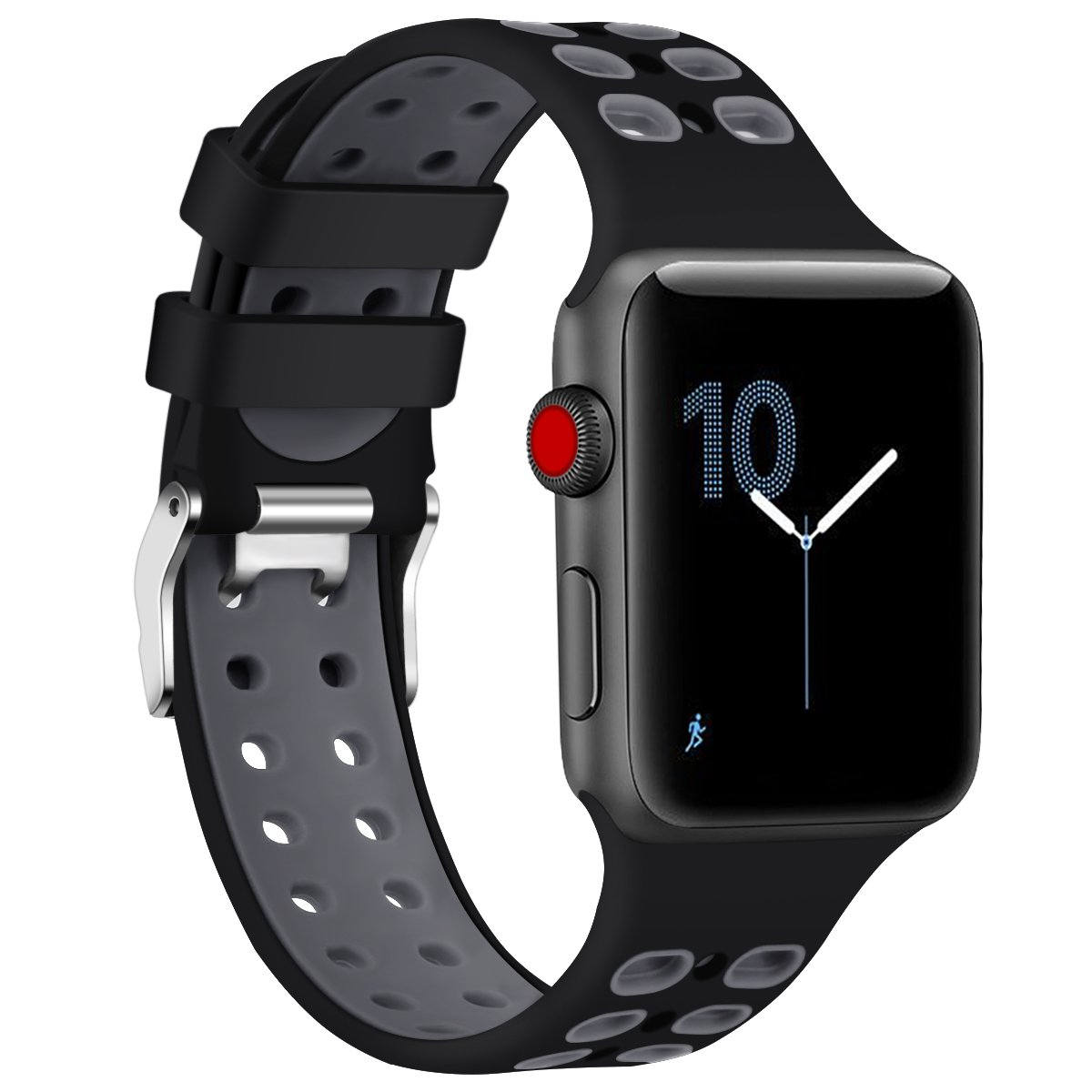 Sport Edition Band for Apple Watch 38mm 42mm,Soft Silicone Sport Strap Replacement Bands with Classic Square Stainless Steel Dual Buckles for iWatch ...