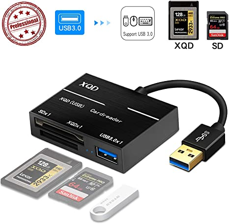 High Speed External USB SD XQD Card Reader with USB3.0 HUB for Mac Black SD Card Reader and Laptops Windows Linux