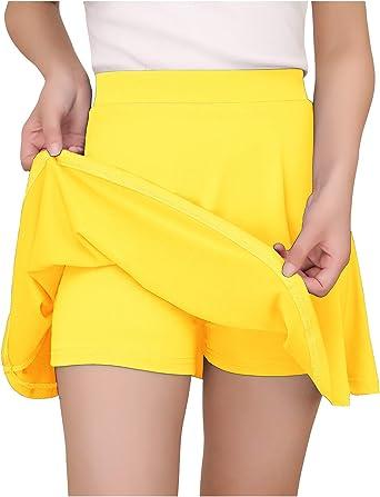 YOYAKER Falda Mujer Short Cortos Elástica Básica Patinador ...