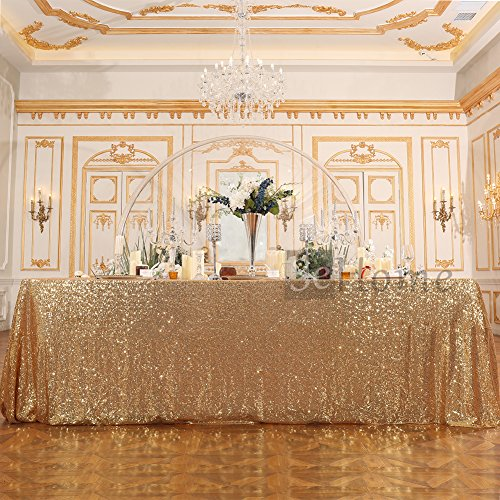 3e Home 60×120'' Rectangle Sequin TableCloth for Party Cake Dessert Table Exhibition Events, Light Gold (6' Round China)