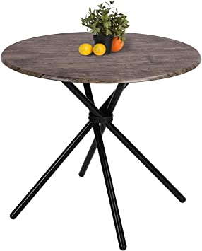 Amazon Com Kitchen Dining Table Industrial Brown Round Mid Century Vintage Living Room Table Coffee Bristro Table For Cafe Bar Easy Assembly 31 4x31 4x29 5 Inches Garden Outdoor