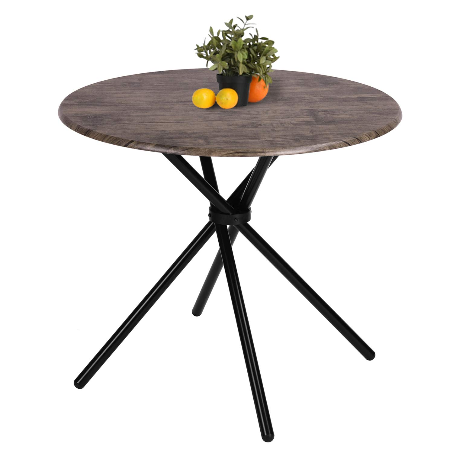 Kitchen Dining Table Industrial Brown Round Mid-Century Wood Coffee Table Office Home Easy-Assembly 31.4x31.4x29.5Inches for for Living Drawing Receiving Room by Coavas